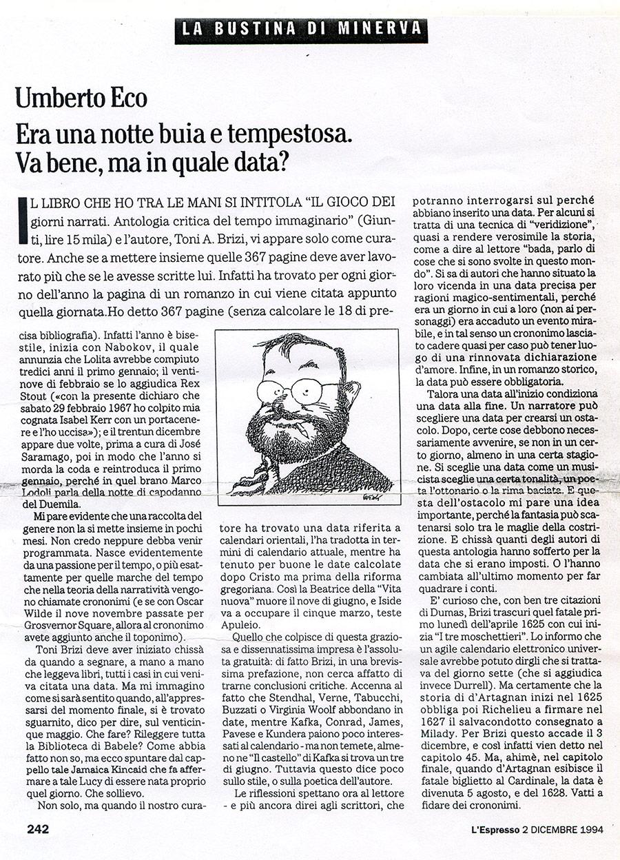 Umberto Eco il gioco dei giorni narrati